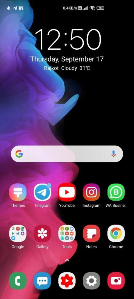 Dark mode of miui 12 theme 3