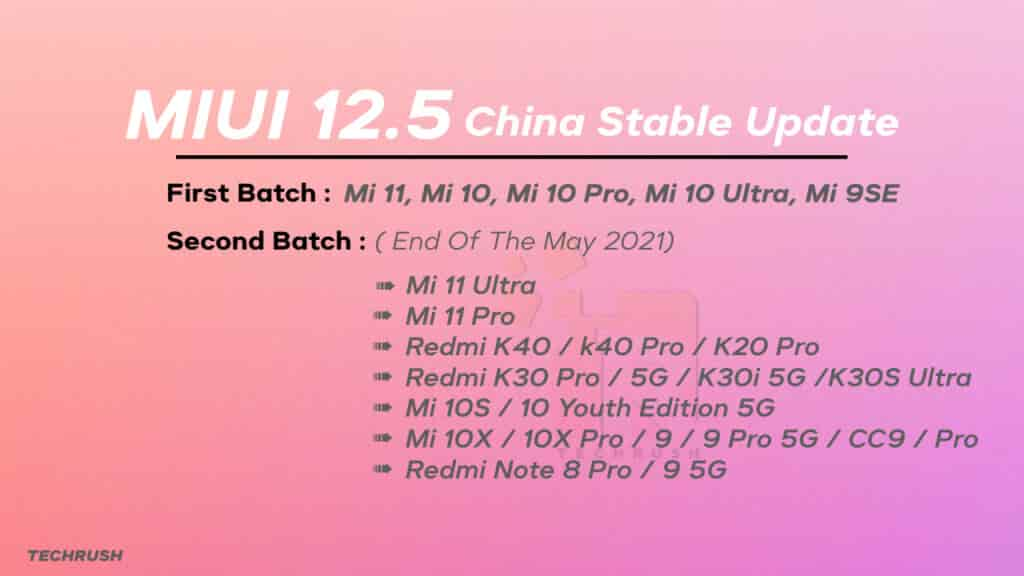 MIUI 12.5 China Stable Update Released Date