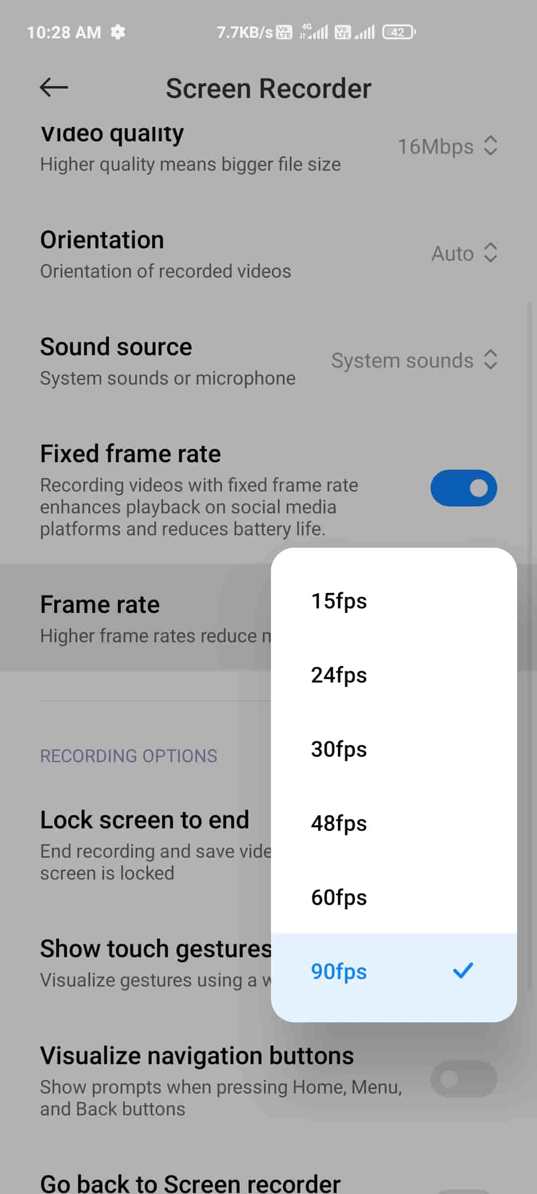 Enable 90 FPS Screen Recorder In Xiaomi Device